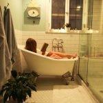 woman reading in bath